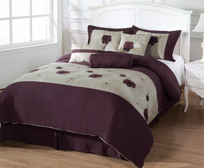 Leila 7 Piece Down Alternative Floral Comforter Set, Queen, Purple