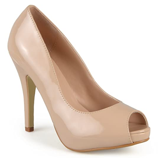 Journee Collection Womens Peep-toe Patent Pumps Nude