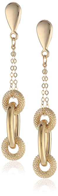 Amazon: 14K Yellow Gold Oval and Circles Dangle Earrings
