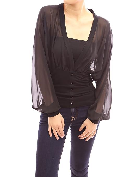 Patty Women's V Neck Semi Sheer Chiffon Bishop Long Sleeve Pullover Blouse -- $35