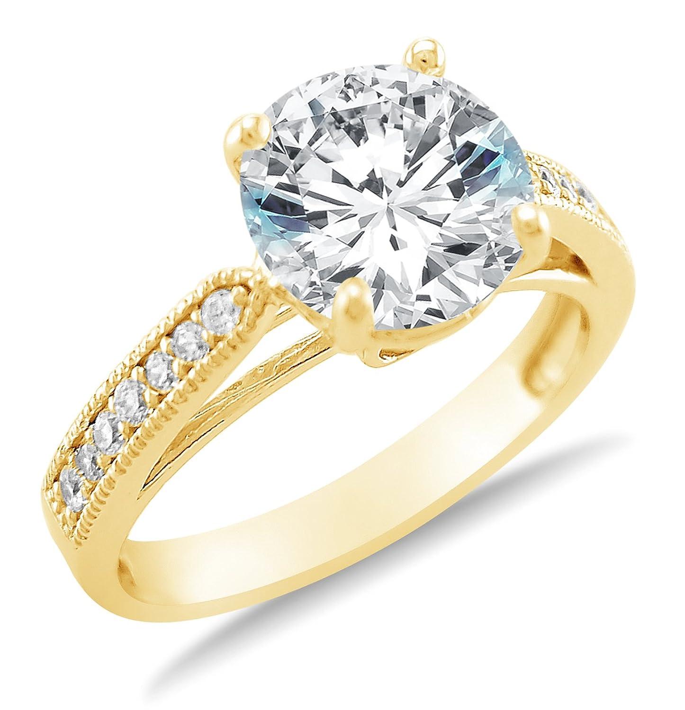 14k yellow gold fake diamond enement rings that look real - Fake Wedding Rings That Look Real
