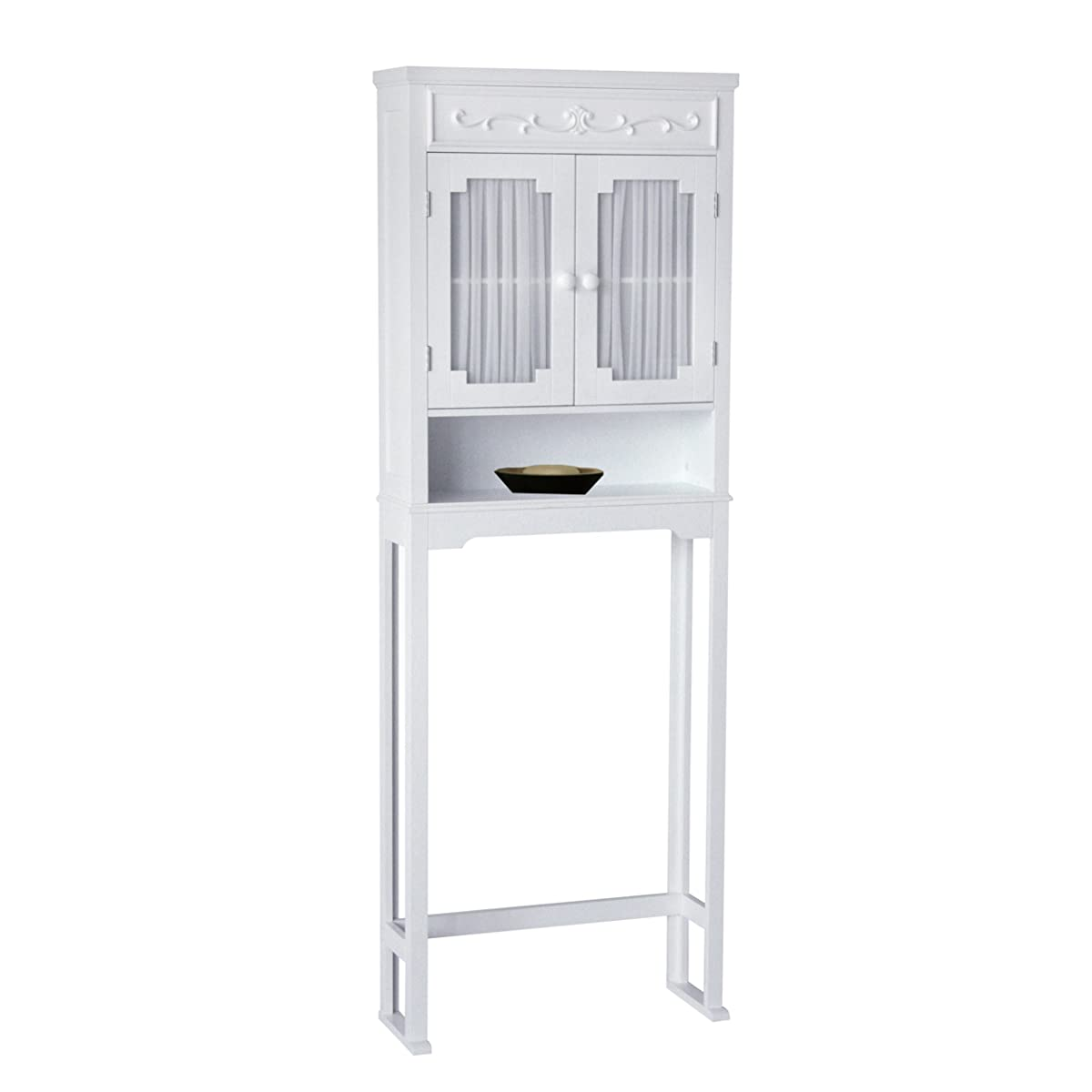 Elegant Home Fashions Lisbon Collection Shelved Bathroom Space Saver White