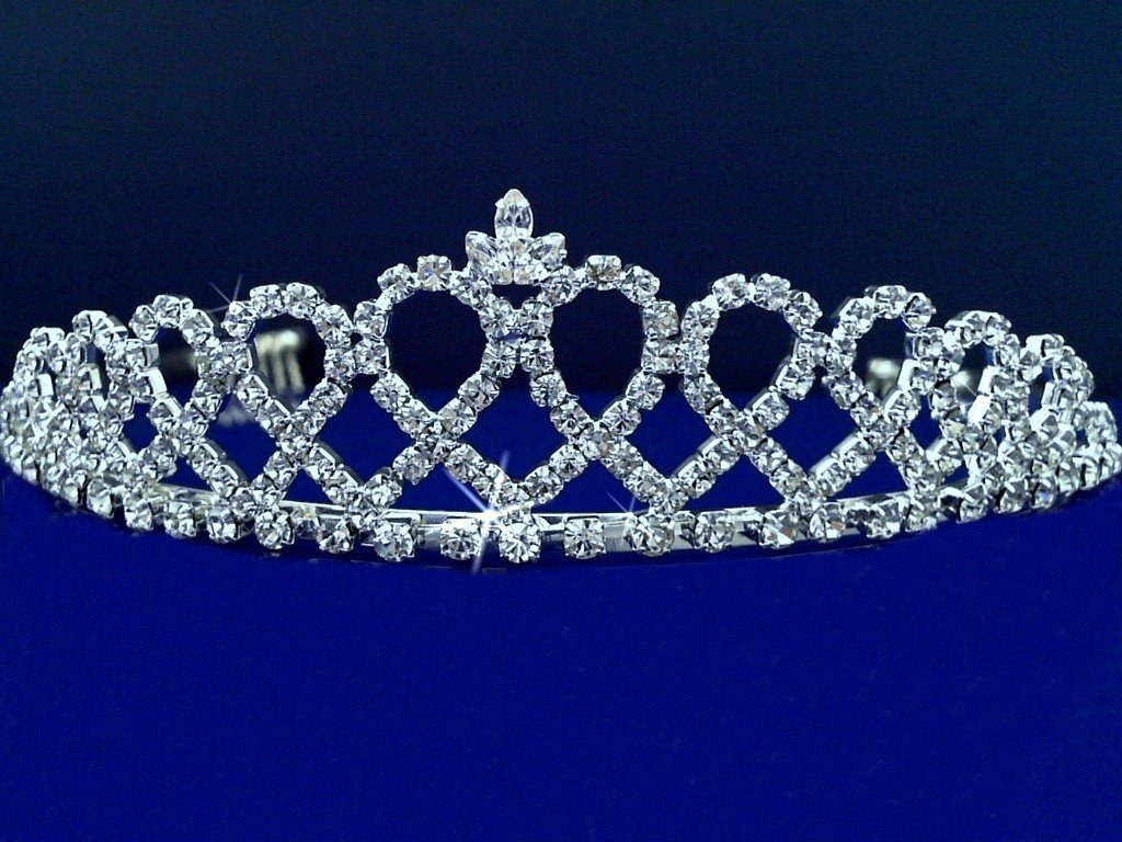 Victoria - Elegant Bridal Tiara, Princess Tiara With Crystal Loops