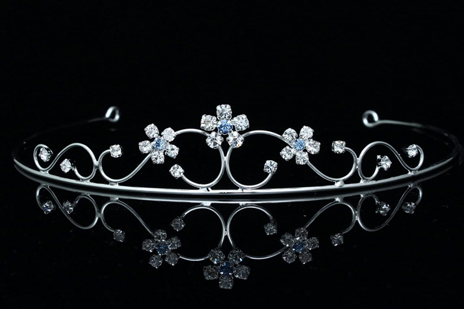Princess Bridesmaid Flower Girl Rhinestone Crystal Tiara (Blue Crystals Silver Plated) T460