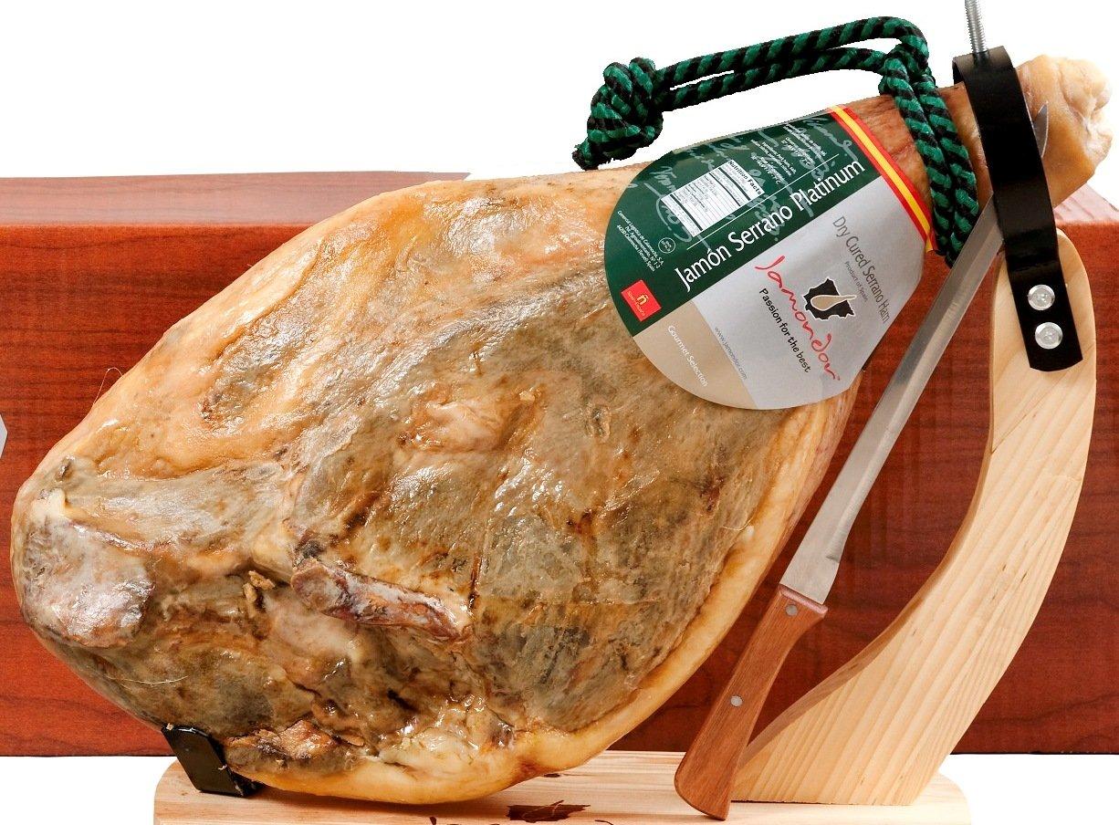 Bone-in Jamon Serrano Ham Pack (15-17 Lbs. Ham + knife + holder)