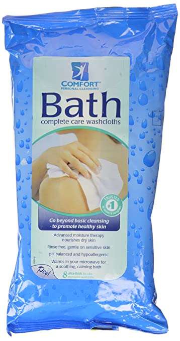 Comfort Bath Personal Cleansing, Ultra-Thick Disposable Washcloths, 8 ea pack of 2