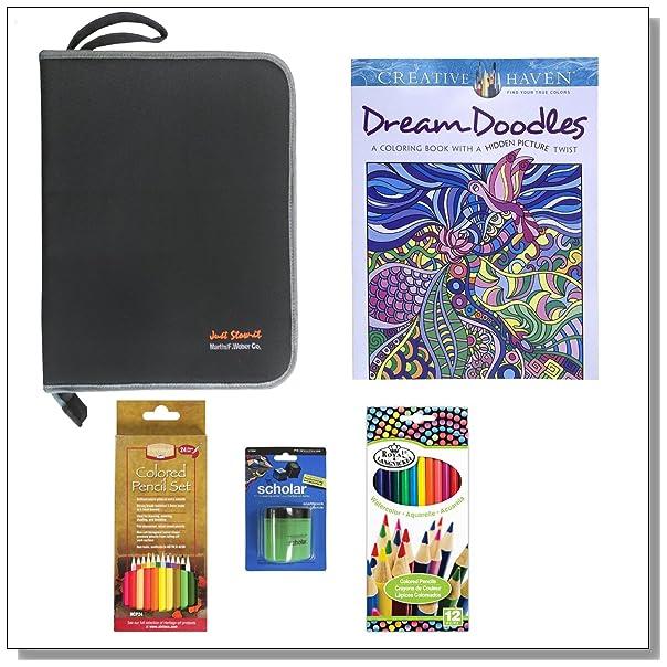Creative Haven Dream Doodles Adult Coloring Book Set With Black Organizer Prismacolor Pencil Sharpener