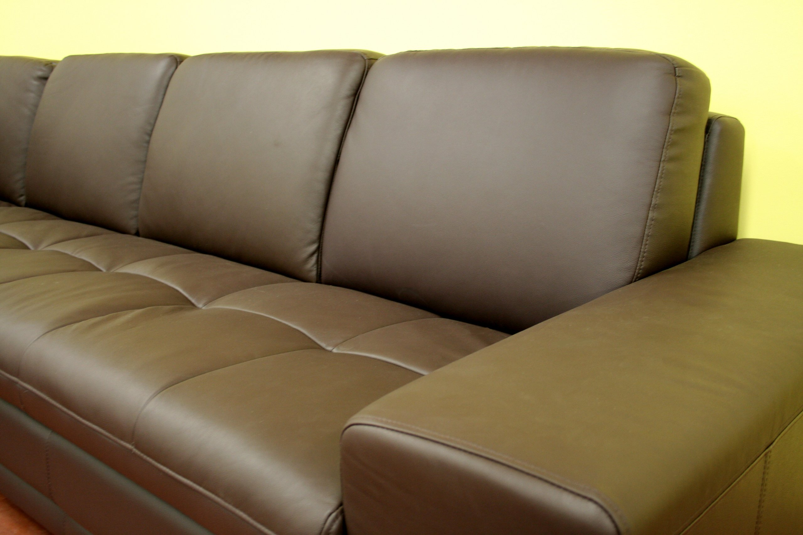 Baxton Studio Callidora Brown Leather Sectional Sofa with Left