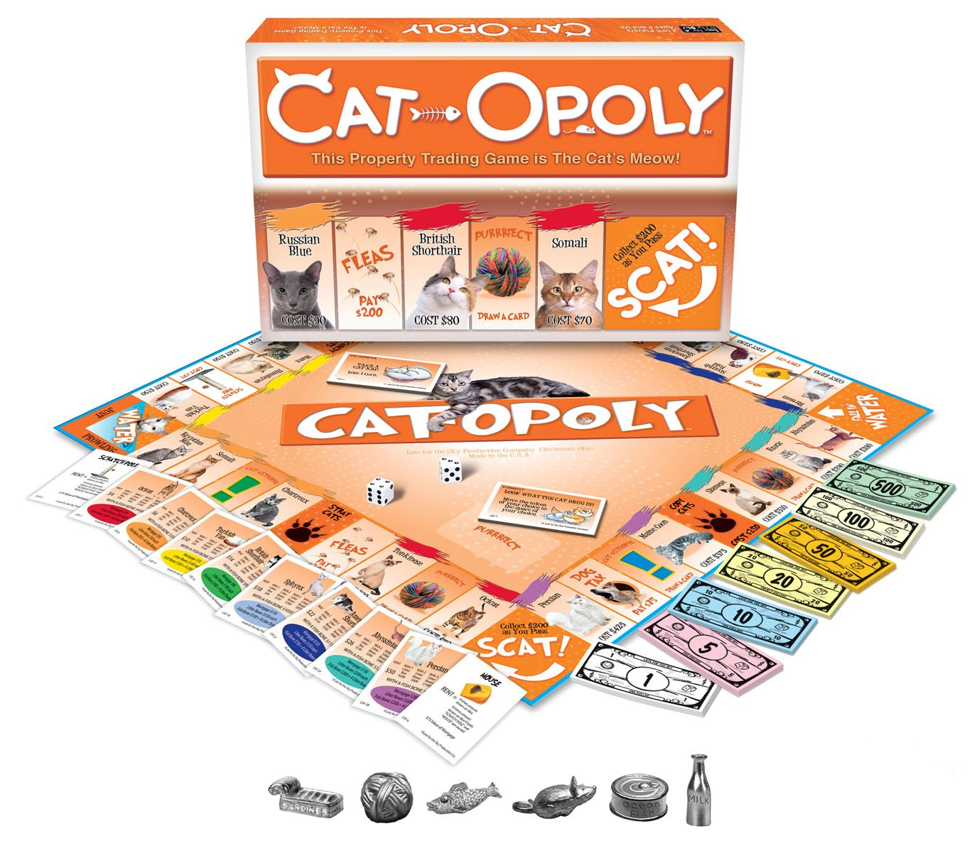 Cat-Opoly Monopoly Board Game.