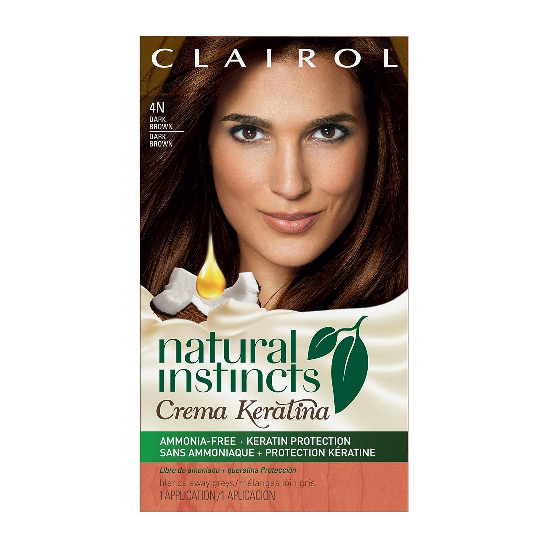 Clairol Natural Instincts Crema Keratina Hair Color Kit, Dark Brown 4 Coffee Creme
