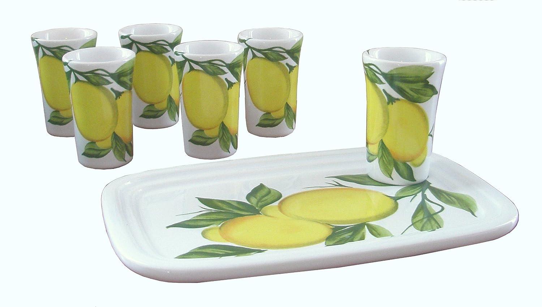 Abbiamo Tutto Limoncello Ceramic Glasses and Ceramic Tray, Set of 6