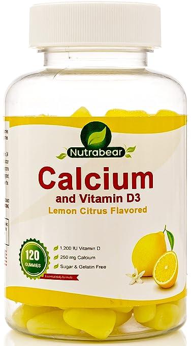 Calcium + Vitamin D3 Gummies, 60 Count, Lemon Citrus Flavored, 100% Vegetarian