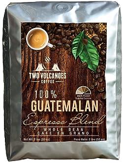 Two Volcanoes Espresso Coffee Beans - Guatemala Dark Roast Espresso Blend Whole Bean Coffee - Rare Single Origin Gourmet Beans