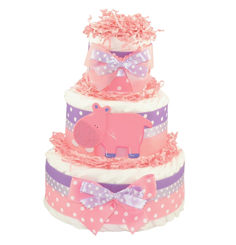 Pink Hippo Diaper Cake | Baby Shower Centerpiece