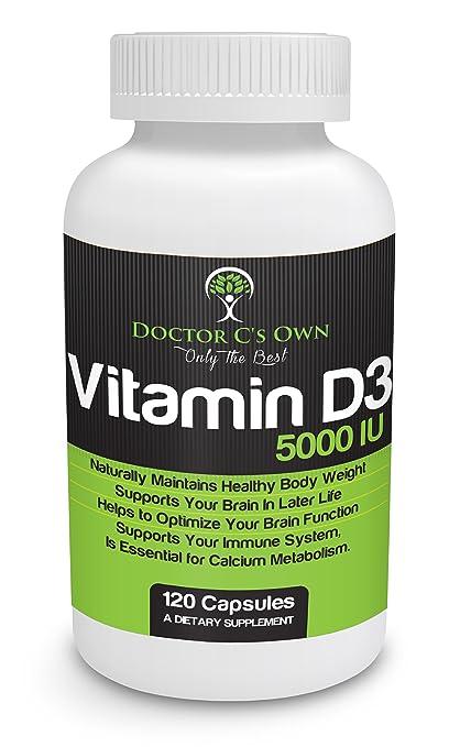 Doctor C's Own Vitamin D3 5000IU Certified Vegetarian Capsules (120 Count) Non-GMO Gluten-free USP-Grade High Potency Supplements - Vegan Halal Kosher - Best - Men Women - Not Pills Tablets Test Now