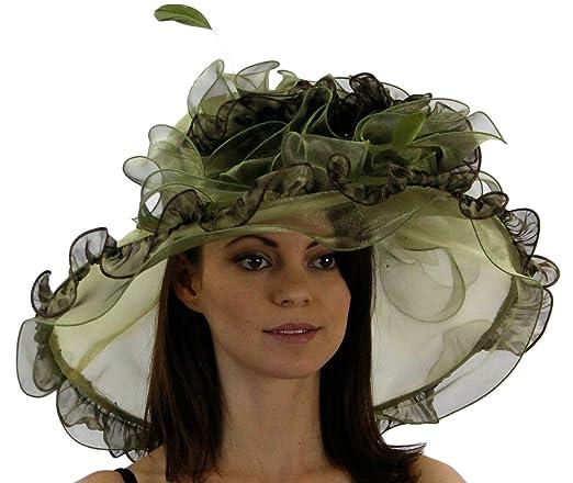 Perfect Organza Kentucky Derby Hat w/ Leopard Print Ruffle Trimming