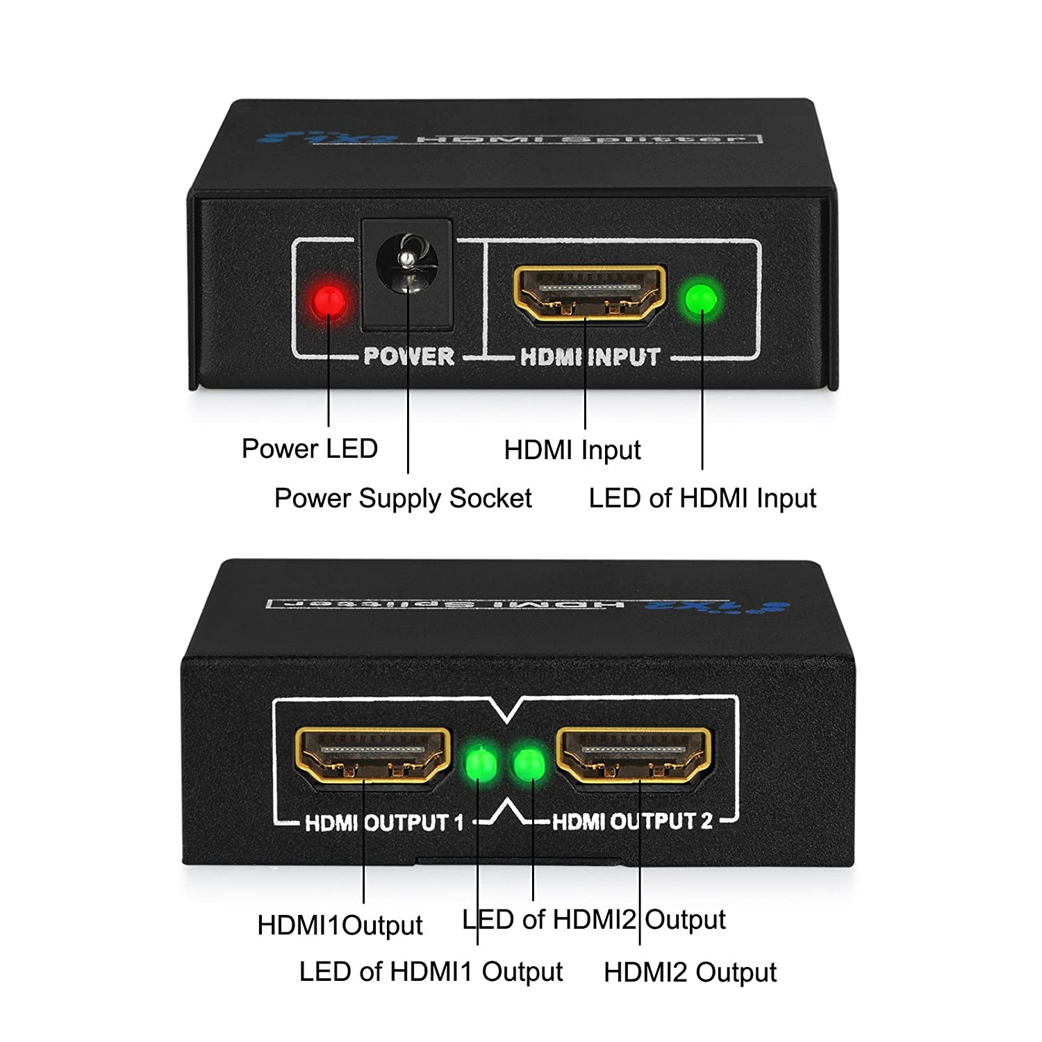 Esynic Hdp02 2 Way Hdmi Splitter Amplifier Switch Manual Usb Box One Hd Source Input Two Display On Tv At The Same Time