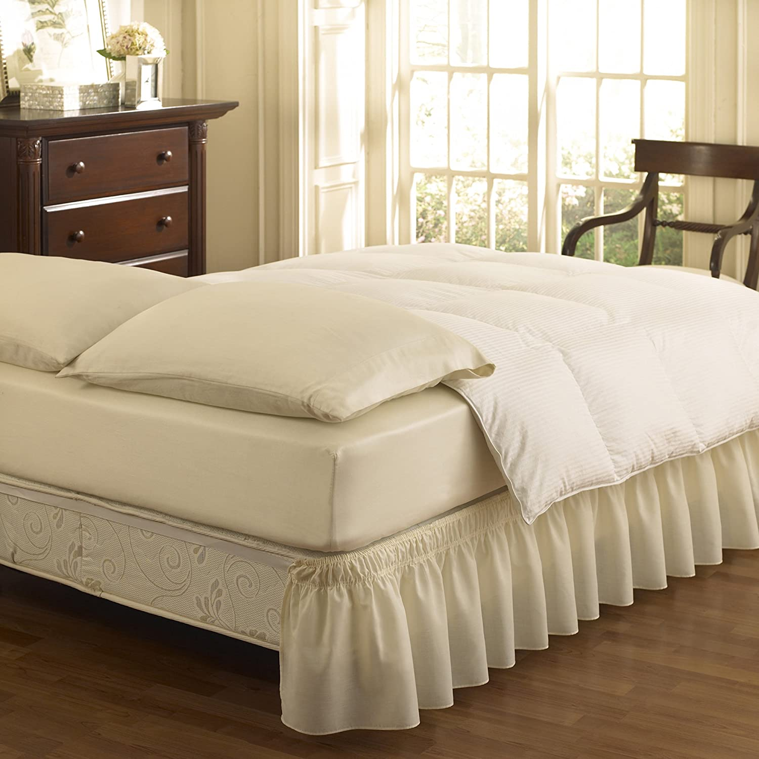 king bed skirt easy fit ruffled solid bed skirt king ivory new 980