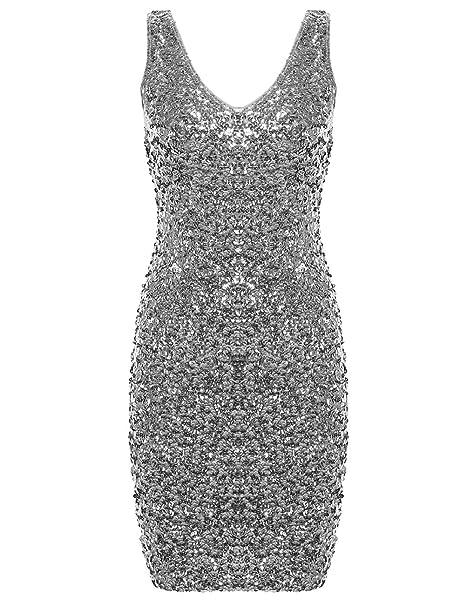 PrettyGuide Women Sexy Deep V Neck Sequin Glitter Bodycon Stretchy Mini Party Dress Silver M