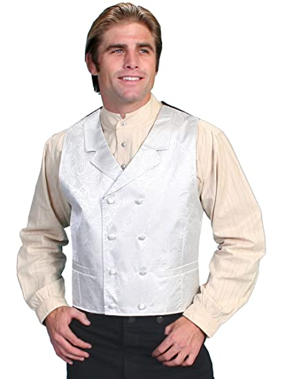 Victorian Men's Vests and Waistcoats White Double Breasted Vest Big And  AT vintagedancer.com
