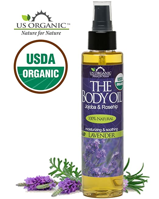 #1 Body & Bath Oil - Elegant Lavender ★ Certified Organic by USDA ★ Jojoba & Rosehip Oil w/ Vitamin E ★ No Alcohol, Paraben, Artificial Detergents, Color or Synthetic perfumes ★ US Organic ★ 5 Fl.oz.