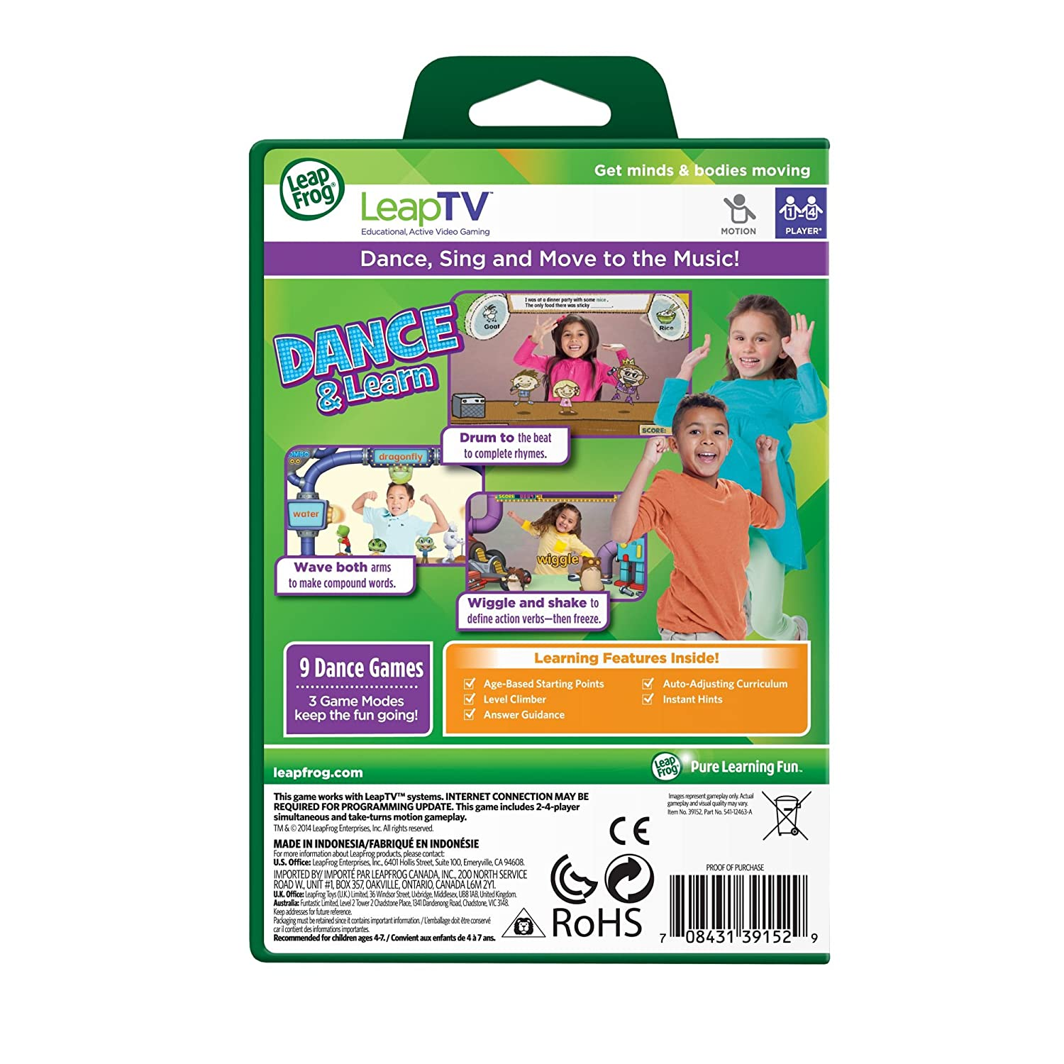 LeapFrog LeapTV Dance and Learn Educational, Active Video ...