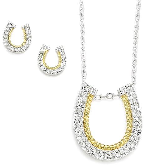 Western Edge Horseshoe Gold Rope Jewelry Set