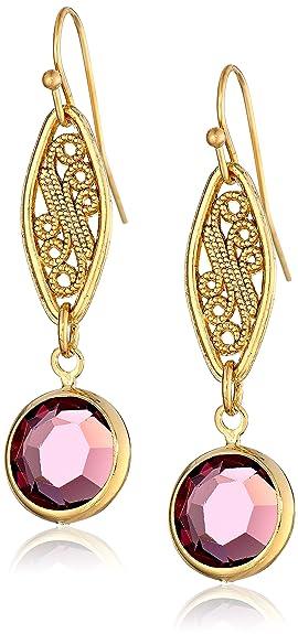 1928 Jewelry Gold-Tone Amethyst Purple Genuine Swarovski Crystal Drop Earrings -- $24