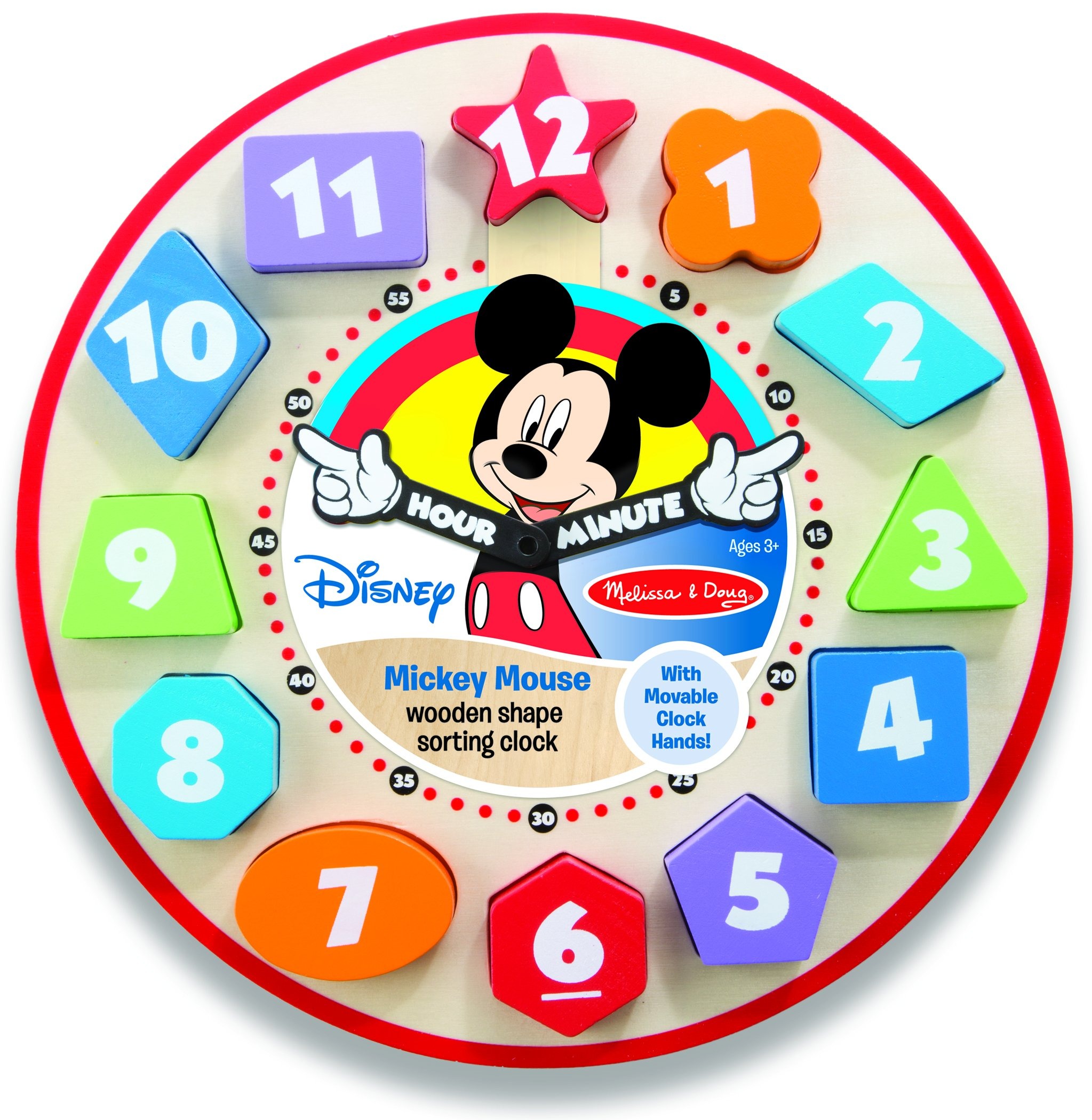 Melissa & Doug Mickey Mouse Wooden Sorting Clock - Numbers ...