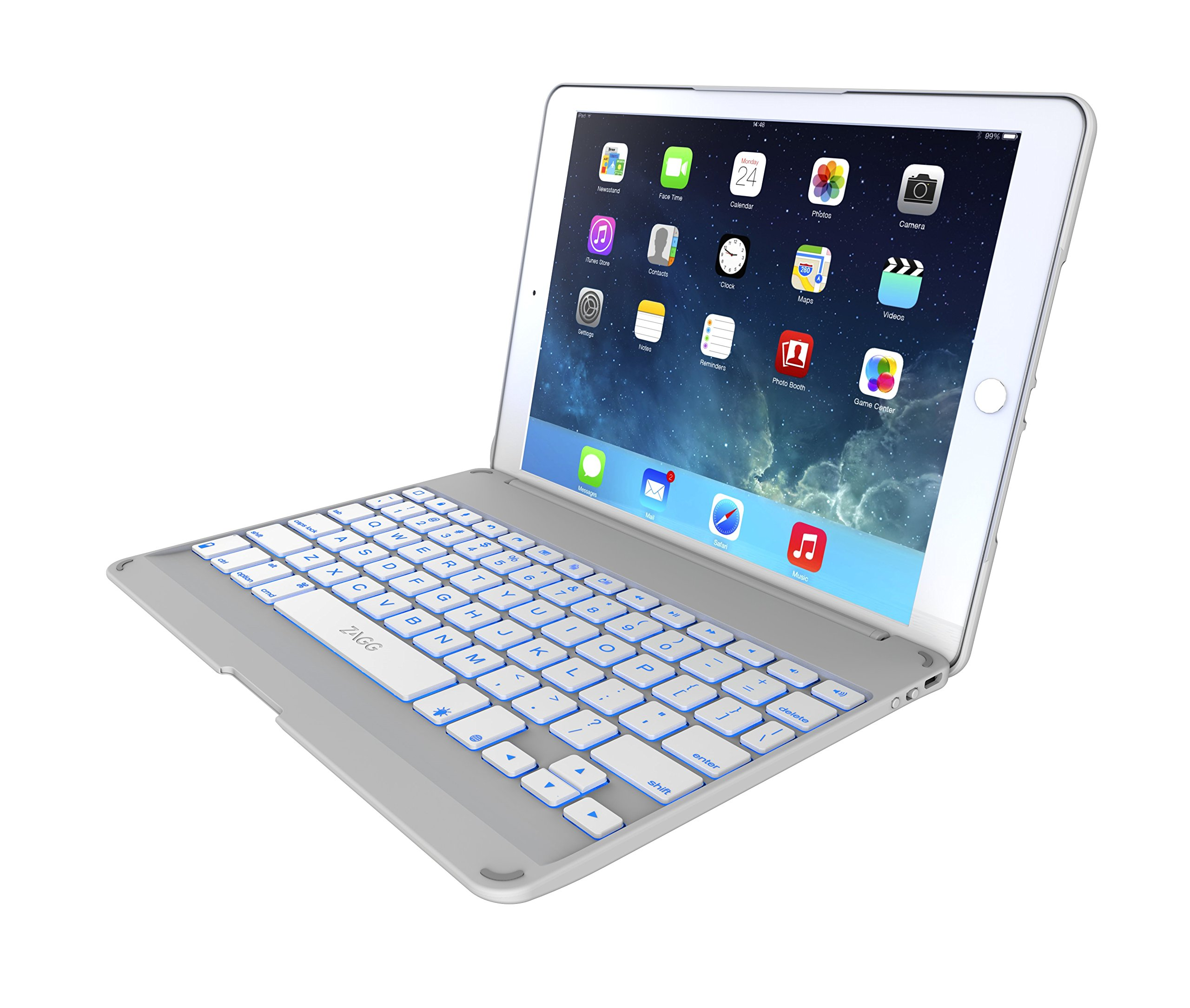 ZAGG Folio Case Hinged With Backlit Bluetooth Keyboard For IPad Air 2, White ...