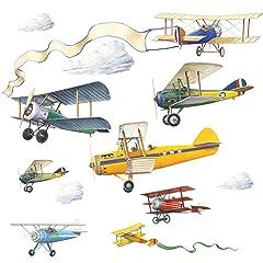RoomMates RMK1197SCS Vintage Planes Peel & Stick Wall Decals