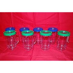 8 PARTY CUPS MAGIC BULLET MUGS JUICER BLENDER ORIGINAL GENUINE 4GREEN 4BLUE