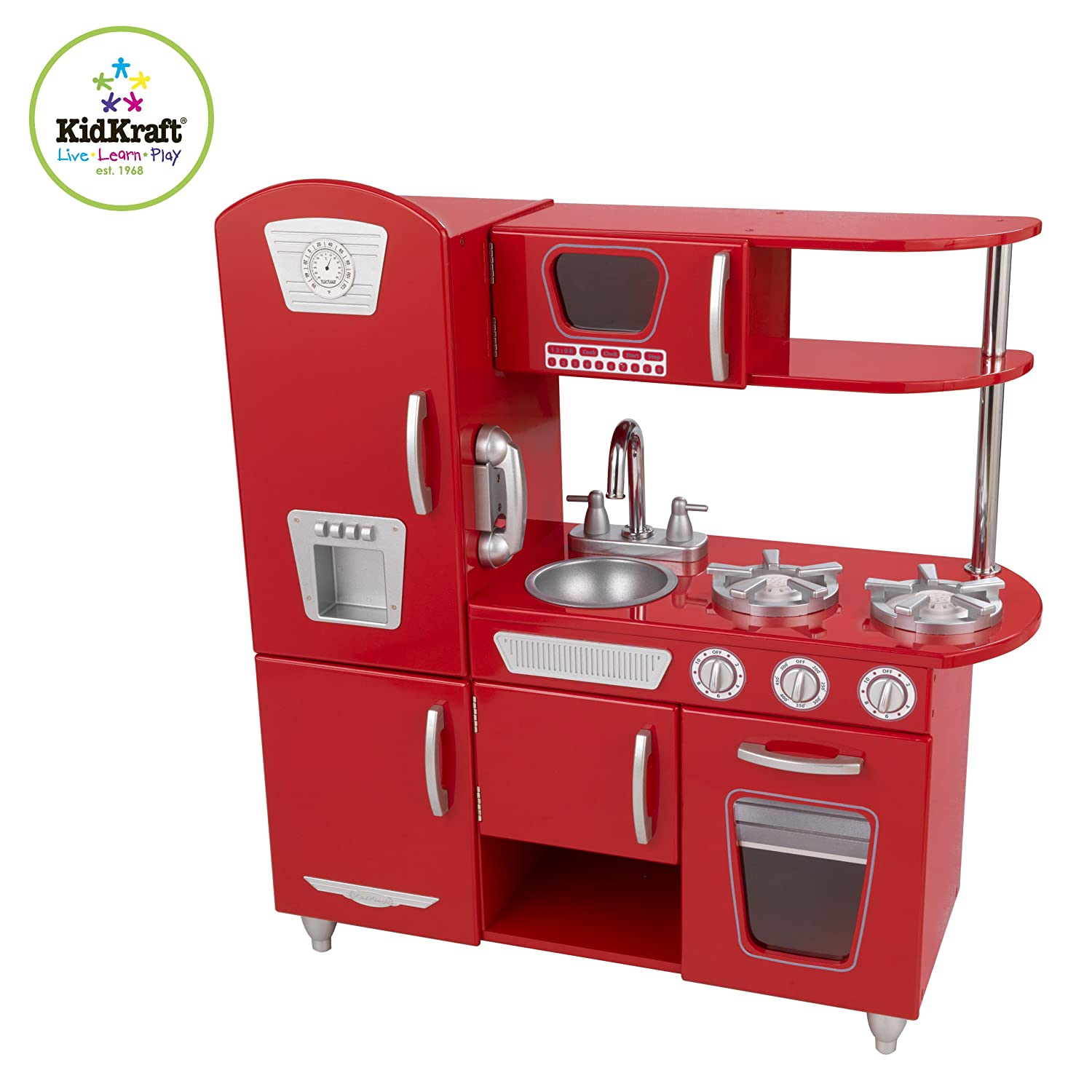 contemporary red play kitchen set toy wooden pretend appliance by  -  red play kitchen set