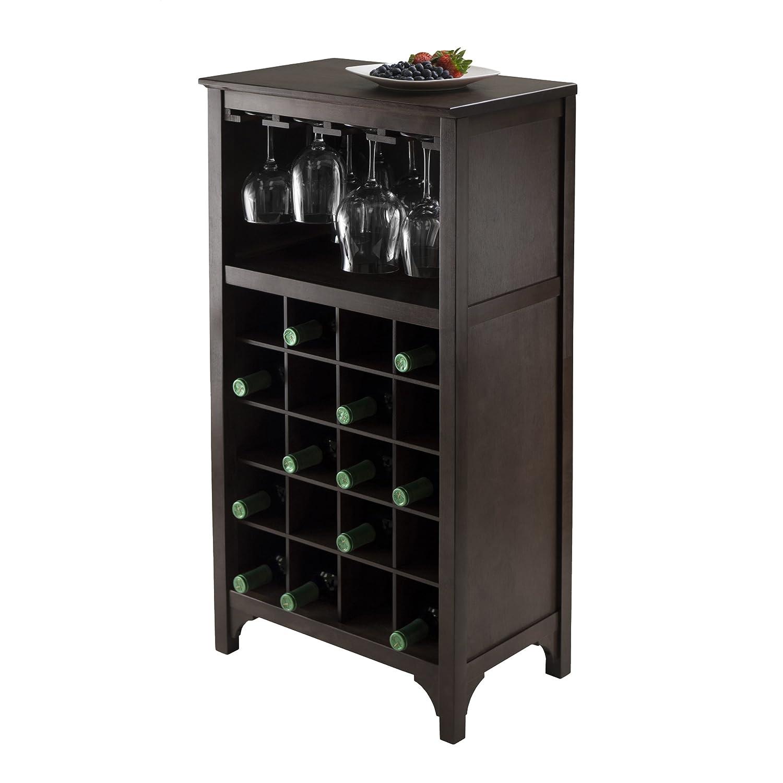 Wine Storage Cabinet Dark Wood Bar 12 Glass , 20 Bottles ...