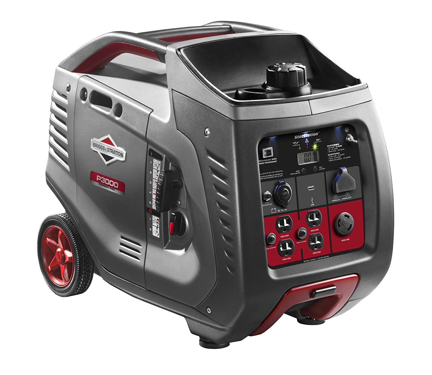Briggs & Stratton 30545 P3000 PowerSmart 3000-Watt Inverter Generator with (4) 120-Volt AC Outlets & (1) 12-Volt DC Outlet