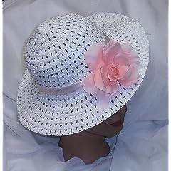 Girls Spring Hat Easter Hat White w/Pink Rose