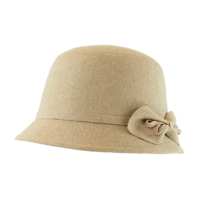 1930s Style Hats – New Vintage Inspired Designs  Cute Cloche Bucket Hat for Women w/ Side Bow in Winter Fabric - Adjustable Size                               $20.95 AT vintagedancer.com