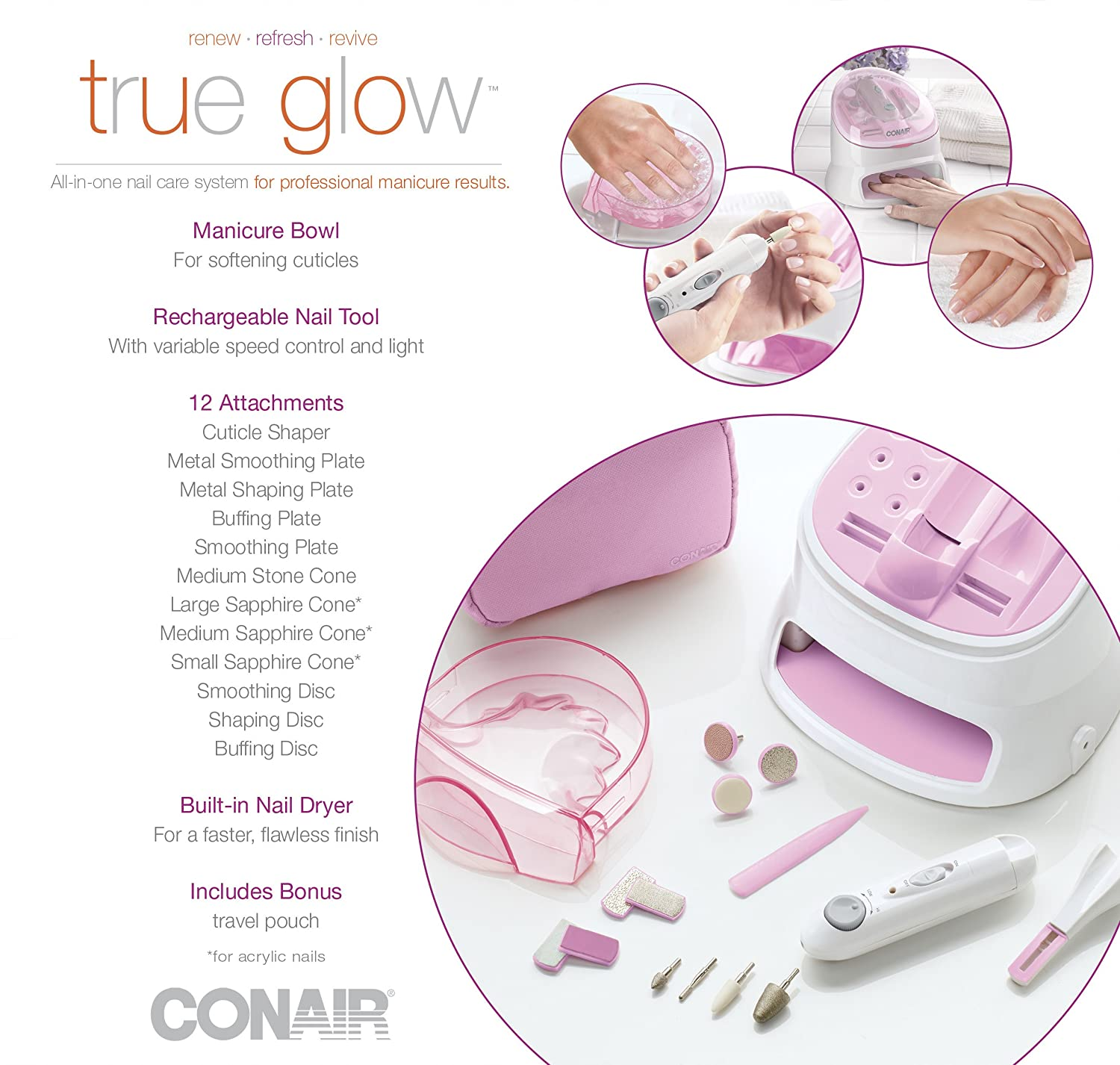Conair Nail Care System All In One Manicures Pedicures Tool Built In ...
