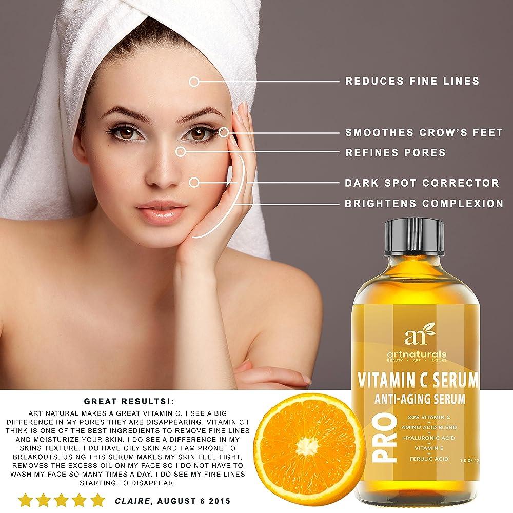 ArtNaturals Enhanced Vitamin C Serum with Hyaluronic Acid 1 Oz - Top Anti Wrinkle, Anti Aging & Repairs Dark Circles, Fades age spots & Sun Damage