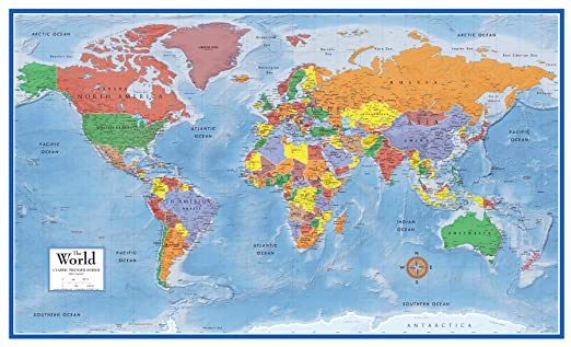 Wall map world classic large poster laminated huge school for Classic world map wall mural