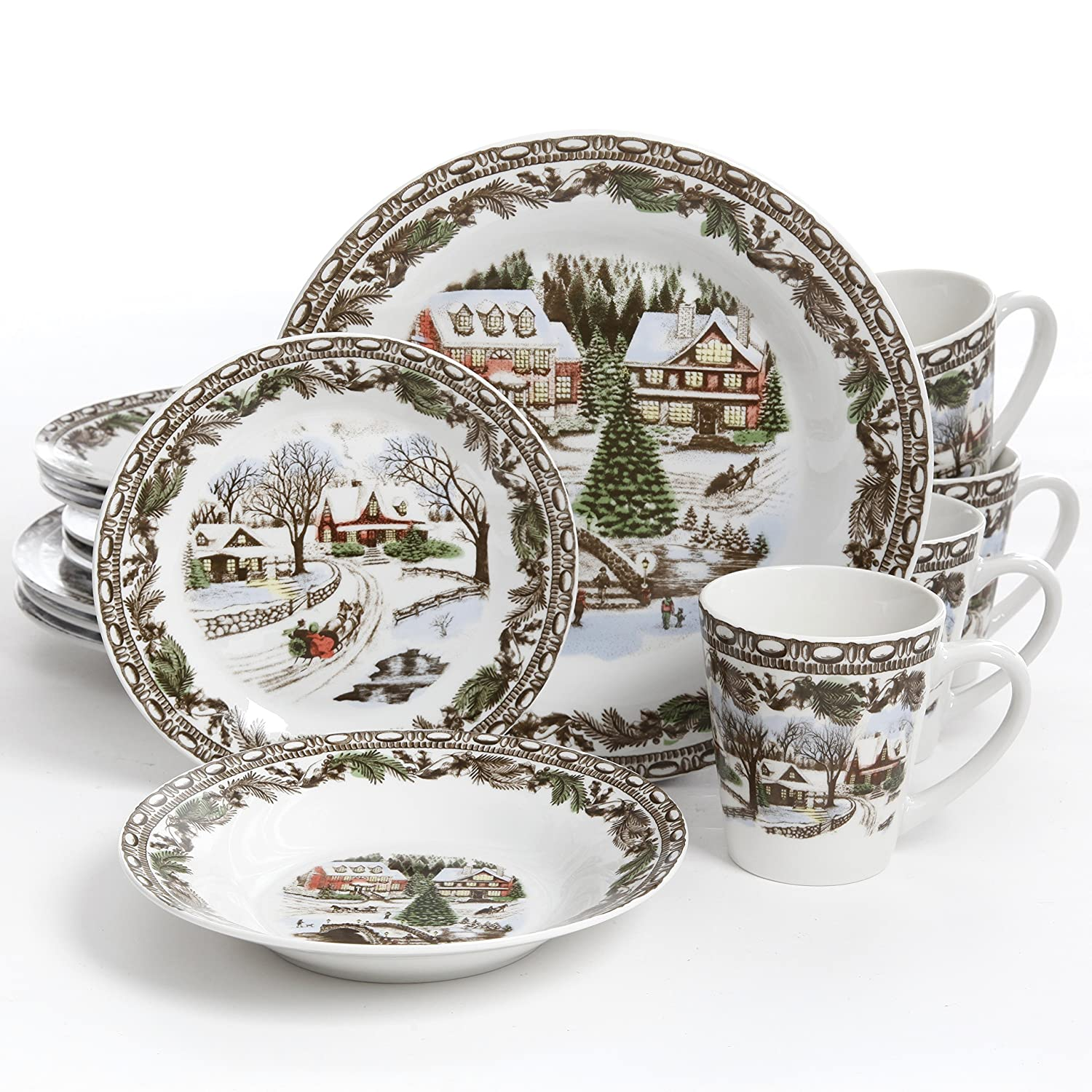 Gibson Home Christmas Toile Dinnerware Set