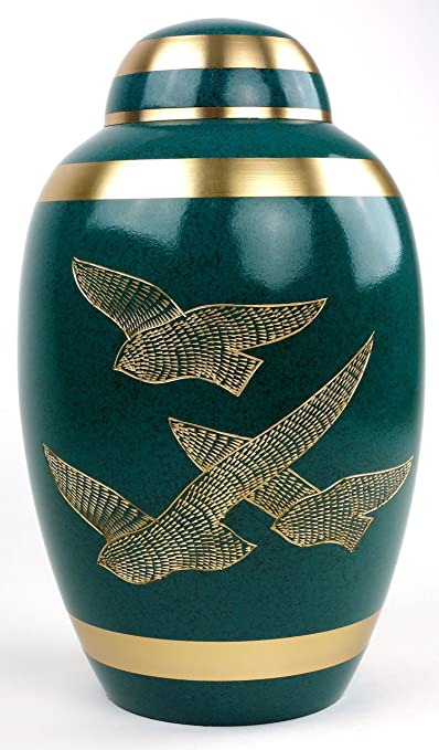 Funeral Urn by Liliane - Cremation Urn for Human Ashes - Hand Made in Brass and Hand Engraved - Fits the Cremated Remains of Adults - Display Burial Urn at Home or in Niche at Columbarium - Volare Model (Green, Large)