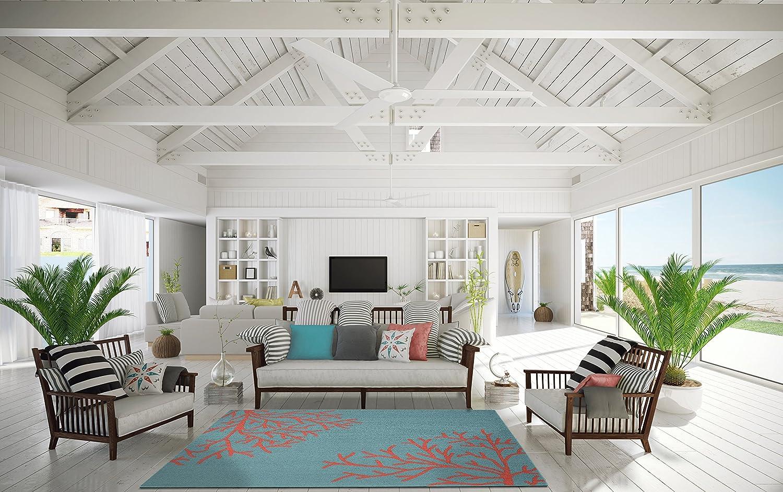 Tropical Coral Teal Area Rug Carpet Coastal Beach Ocean Sea Modern ...