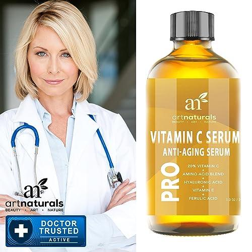 ArtNaturals Enhanced Vitamin C Serum with Hyaluronic Acid 1 Oz - Top Anti Wrinkle, Anti Aging & Repairs Dark Circles, Fades age spots & Sun Damage - 20% Vitamin C Super Strength - Organic ingredients
