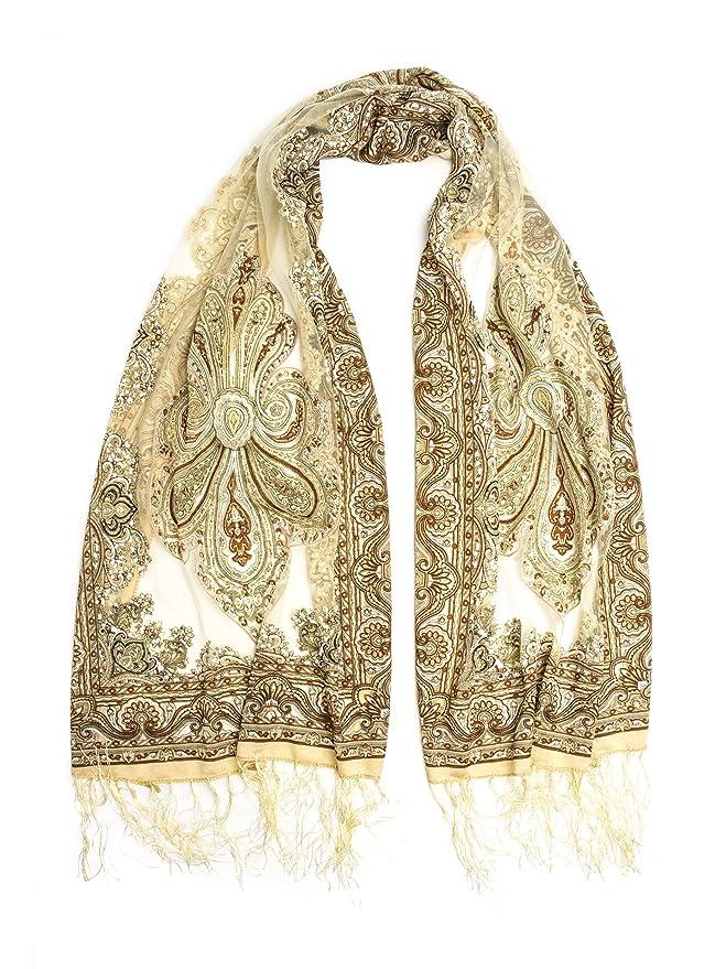 Vintage Scarves- New in the 1920s to 1960s Styles Fringed Sheer Burnout Fleur de Lis Scarf $13.95 AT vintagedancer.com
