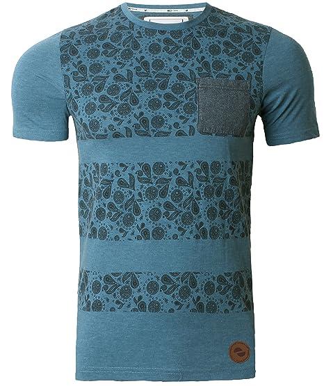 D-Code Men's T-Shirt Top Paisley Pattern Short Sleeve Marl Effect Large Blue Bird