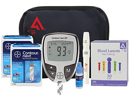 active1st Bayer Contour NEXT Complete Diabetes Testing Kit, 100 Count, Bayer Contour NEXT EZ Meter W/Carry Case, 100 Test Strips, 100 30g Lancets, Lancing Device, Control Solution, Owners Manual/Log Book