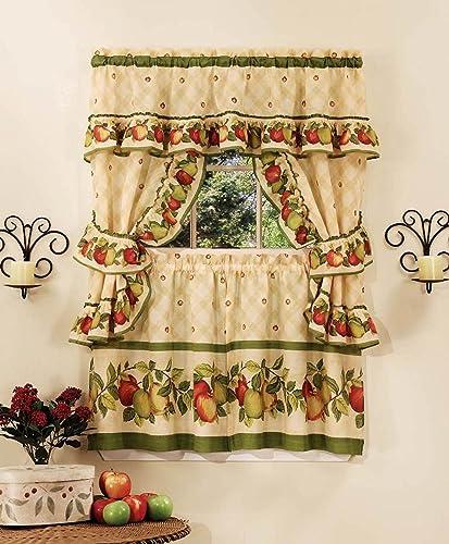 Apple Orchard Cottage Set Tier Curtains