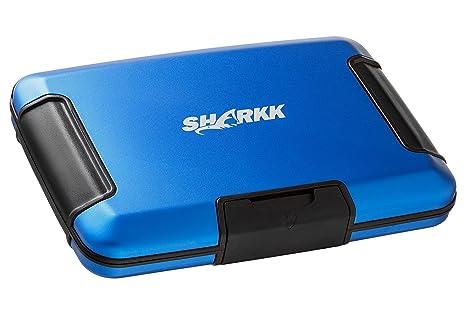 SHARKK® Aluminum Wallet RFID Protected Aluma Wallet Rugged Water Resistant Card Holder (Blue)