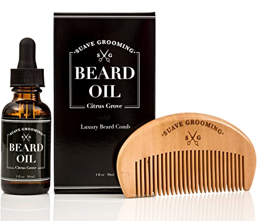 Suave Grooming Beard Oil and Beard Comb - The Best Beard Oil and Beard Conditioner Softener in One for Beard Care. Beard Comb Kit Includes The Best Beard Oils to Promote Beard Growth. 1oz Bottle.